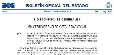Bases de cotizaci�n 2015: el BOE publica la orden