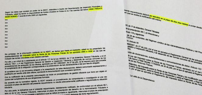 Así avisó por carta Hacienda a los españoles de la 'lista Falciani' en 2010