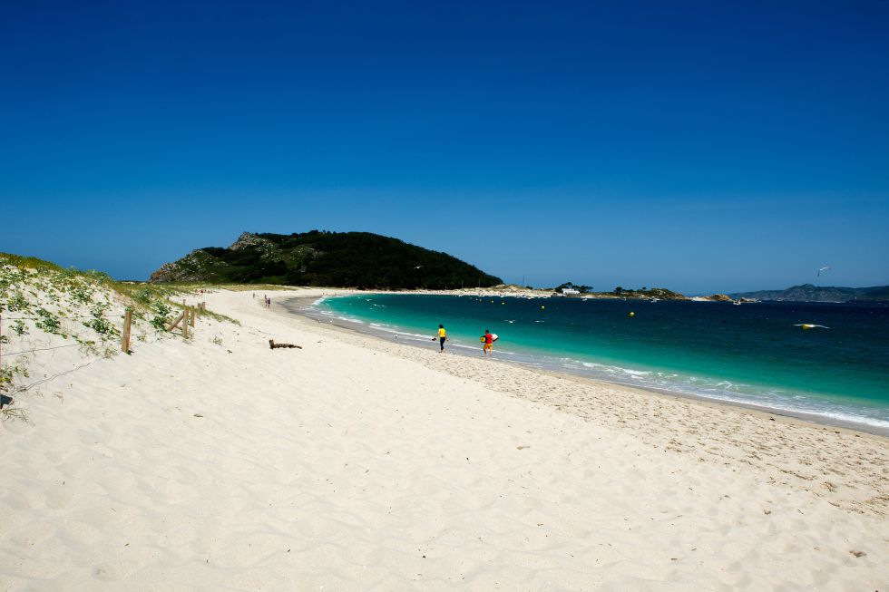 arenal de la playa de Rodas, en las islas Cies, Vigo (Galicia).