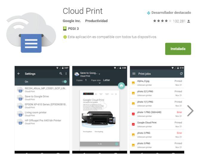 Aplicación Cloud Print para Android
