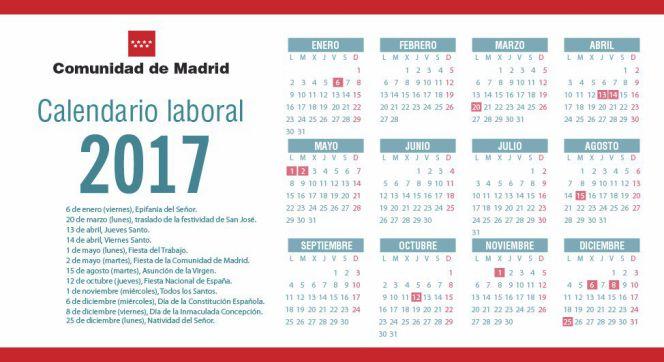 ... siguientes días serán festivos en la Comunidad de Madrid en 2017