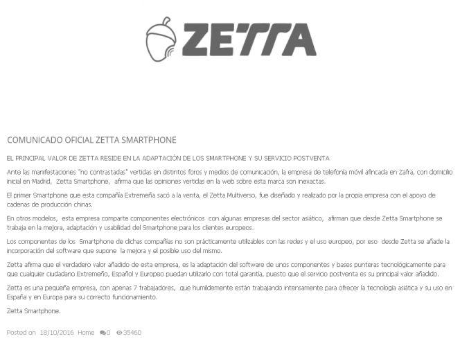 Zetta alega que sus 'smartphones' comparten componentes con empresas asiáticas