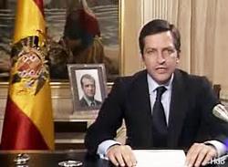 Adolfo Suárez, durante su discurso de dimisión